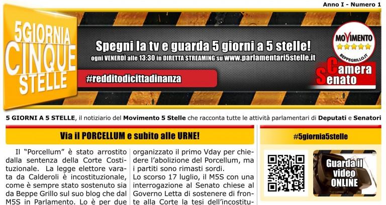 "Bollettino cartaceo ""5 Giorni a 5 Stelle"" nr.1"